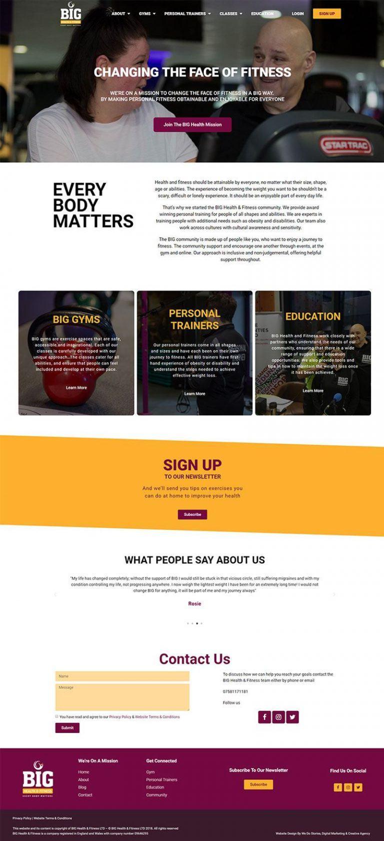 BIG Health and Fitness Web Design