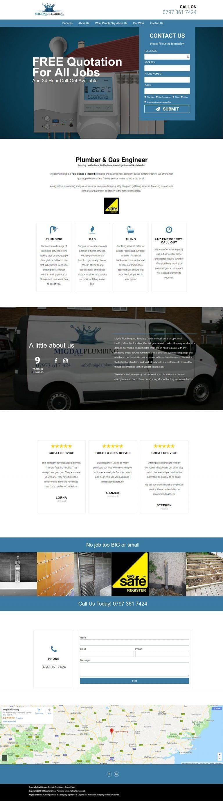 Web Design Migdal Plumbing